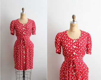 70s Red Polka Dot Karin Stevens Dress / Polka Dots Dress / Size S/M