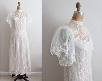 70s Boho Wedding Dress/ White and Pink Wedding Maxi Dress / Victorian Dress/ 1920s Inspired/ Size S/M