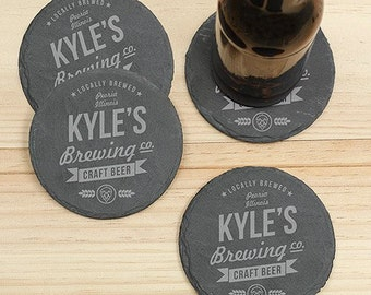 Personalized Craft Beer Brewing Co. Slate Coaster Set of 4, father's day gift, craft beer, gifts for him, dad, grandpa, beer -gfyL10368153
