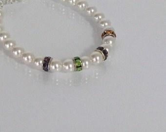 Mother's Birthstone Bracelet, Birthstone Bracelet, Five Stone Birthstone Bracelet, Crystal Birthstone Bracelet, Mother's Birthstone Jewelry