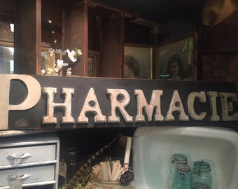 Vintage French Inspired 4 Ft Pharmacie Wooden Farmhouse Sign Hand Made
