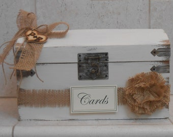 Slotted Wedding Card Box / Wooden Wedding Trunk / Rustic Wedding Card Box / Wedding Card Holder / Burlap Wedding Decorations / Cards
