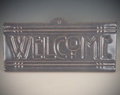 Welcome Tile - Arts & Crafts Mission - Craftsman Prairie Style - Grey Blue Glaze