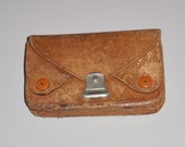 1960s Coin Card Purse, Natural Tan Goat Leather, Small Wallet, Handmade, Algeria.