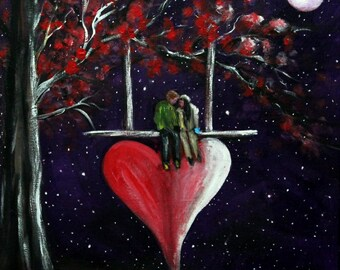 "Valentine Painting on 12"" x 12"" canvas board, Valentine gift ideas, original acrylic art, unframed art, wall decor, home decor, Fantasy art"