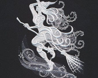 Delicate Witch Embroidered Flour Sack Hand/Dish Towel