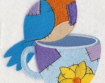Crafty Bird with Cup Embroidered Flour Sack Hand/Dish Towel