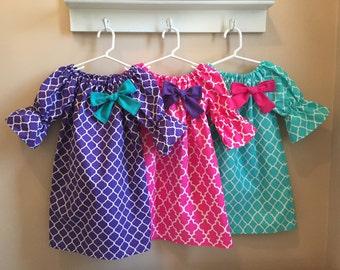 Easter Dress Girls Spring Aqua Hot Pink Purple Lattice Quatrefoil Dresses with bow 6 12 18 24 2T 3T 4T 5/6 7/8 9/10 Sister Brother Tie