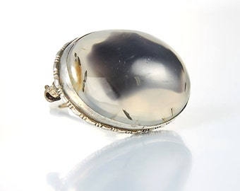 Art Deco agate Brooch, Sterling silver Oval Antique Brooch, 1920s Charcoal Earthy jewelry