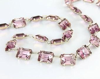 Purple Art Deco Necklace, Amethyst Crystal Necklace, Antique Jewelry Open Back Emerald Cut  16.5 inch Choker