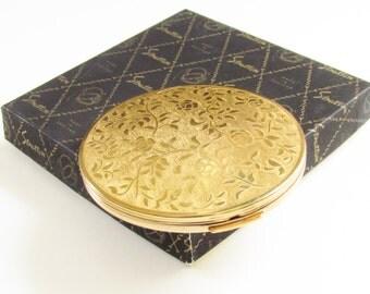 Vintage Stratton Powder Compact Gold Rose Original box