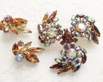 Vintage Sherman Topaz Aurora Rhinestone Brooch Earrings signed