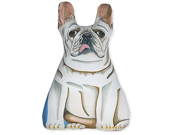 White French Bulldog - Front only - Dog Pillow - Stuffed Animal