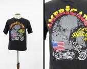 Vintage 1991 Americade T-shirt noir des années 90 Lake George Bald Eagle Biker Rally - grand