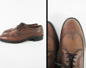 Vintage Brown Wingtip Shoes Long Wing Brogue Wingtips Pebble Brown - Size 8 1/2 C