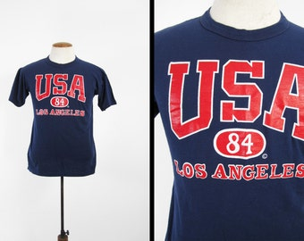 Vintage 1984 Olympics T-shirt Los Angeles Navy Blue Summer Games - Small / Medium