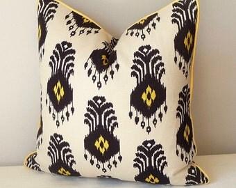 Black Yellow Ikat Throw Pillow , Nate Berkus El Covento Pillow, Pillow Decor, Sofa Pillow, Accent Pillow