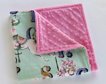 Carousel Horses Security Blanket, Girl Lovey Blanket, LAST ONE, Mint Carousel Horse, Baby Girl Security Blanket, Girl Baby Shower Gift