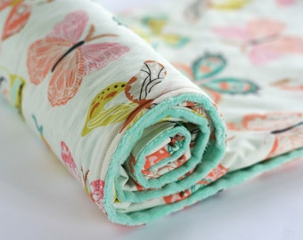 Butterfly Minky Baby Blanket, Baby Girl Nursery Bedding, Girl Baby Shower Gift, Girl Crib Bedding, Winged Wingspan Melon Mint Peach Pink