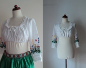 Vintage Peasant Blouse - 1970's Floral Embroidered Blouse  - Size S