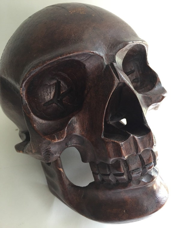 Large wooden skull hand carved collectible fig house vintage