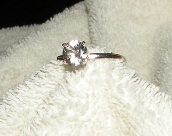 7mm White Sapphire Solitaire Engagement Ring