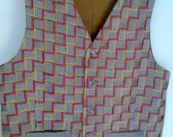 Woven men's classic vest, grey patchwork mens vest - size L mens vest, ready to ship