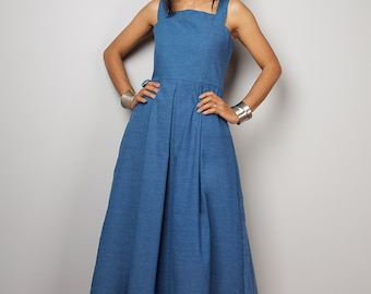 Maxi Dress / Long Blue Cotton Denim Summer Halter dress :  The Denim Collection no. 2