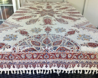 Vintage Bohemian Cotton Print Tablecloth or Wall Hanging Made in Iran,  Vintage Hippies Decor, Sixties