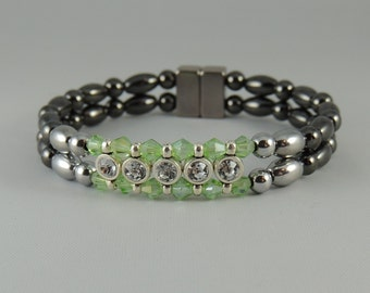 Double Peridot and Crystal Bracelet