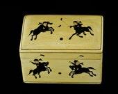 Vintage M. Qasim & Bro Kashmiri Papier Mache Hand Painted Box with Polo Motif