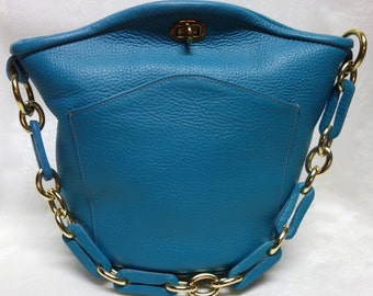 Vintage ROGER VAN S 60s Turquoise Pebbled Leather Bucket Handbag