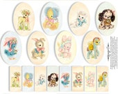 EASTER TAGS  DIGITAL Party Stamps Stickers Tags Cupcake Cake Topper Circle Labels Sticker Gift Tag Digital Collage Sheet 332t