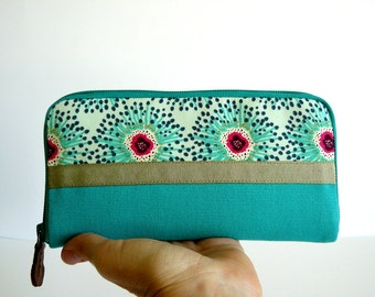 Wallet // turquoise dandelion printed canvas / aseismanos / Womens wallet / gift for her
