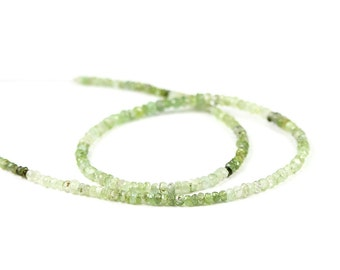 Tourmaline Micro Faceted Rondelles 14 Rare Afghani Shaded Green Semi Precious Gemstone