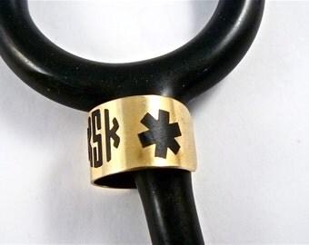 stethoscope ID tag, stethoscope ID ring, stethoscope ID charm, nugold, star-of-life, medical, paramedic, medic, emt, nurse, tech,
