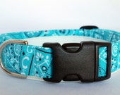 Handmade Cotton Dog Collar - Blue Bandana Print