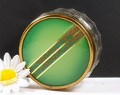 Small Glass Vanity Jar Celluloid Brass Lid Paneled Glass Lime Green Hand Painted Vanity Dresser Jar
