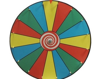 24 Inch  Prize Wheel / Dry Erase Color Face Prize Wheel with Solid Wooden Pegs and Clicker  / Trade Show Priz Wheel