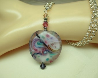Romantic Lampwork Bead Necklace in Soft Colors