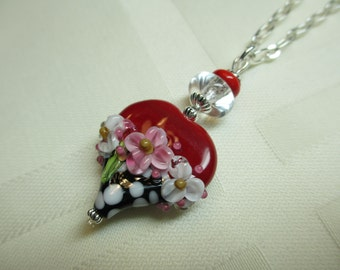 Red Heart Lampwork Bead Pendant Necklace With Polka Dots