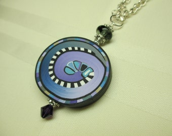 Purple and Blue Polymer Clay Pendant Necklace
