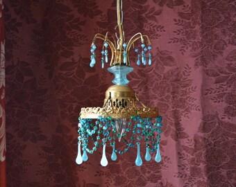 """Aqua Blue Gypsy Chandelier, Beaded Crystal and Gold Gilt, 7""""w. x 12"""" h."""