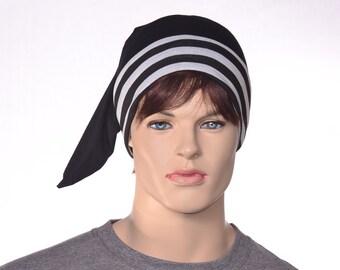 Night Cap Victorian Steampunk Black Sleep Hat Black White Stripe Nightcap Adult Men Women Unisex Poor Poet Hat Pirate Hat