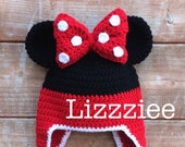 Minnie Mouse Stripe Crochet Beanie PDF Pattern - fun to make for Disneyland Disneyworld - beanie, earflap, braids - Instant Digital Download