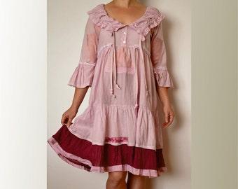 Dress cotton, pink, artsy, ruffles, romantic dress, boho, upcycled clothing, recycled dress