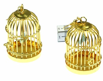 [BUNDLE] Cage earrings earrings cage bird cage Aviary bird 40 mm Miniblings golden XL