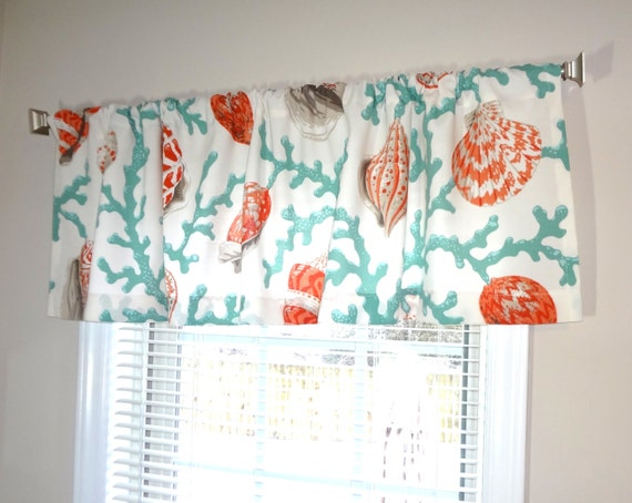 curtain valance topper window treatment 52x15 coral shell