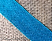 "CLEARANCE!! Wired Ribbon Burlap 2 1/2"" Turquoise Blue ONE YARD - Offray #275 Natural Jute Craft Decor Wire Edged Ribbon"