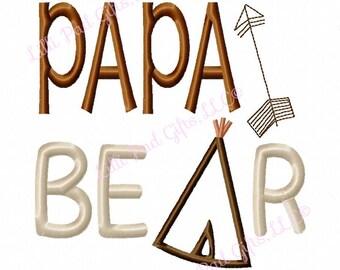 PAPA BER - TeePee - Applique - Machine Embroidery Design - 7 Sizes